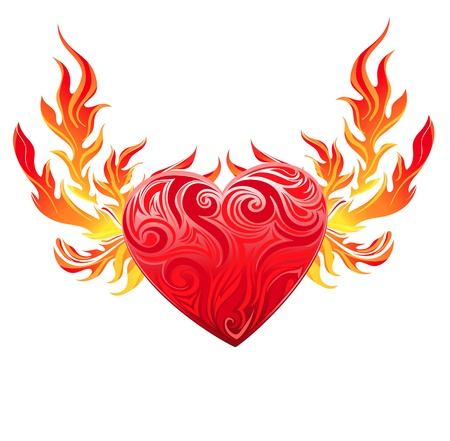 red love heart with flames: Coraz�n rojo simbolo vector
