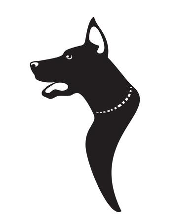 hocico: Del perfil del perro vector icono Vectores