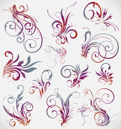 tattoo flower: floral elements vector design collection Illustration