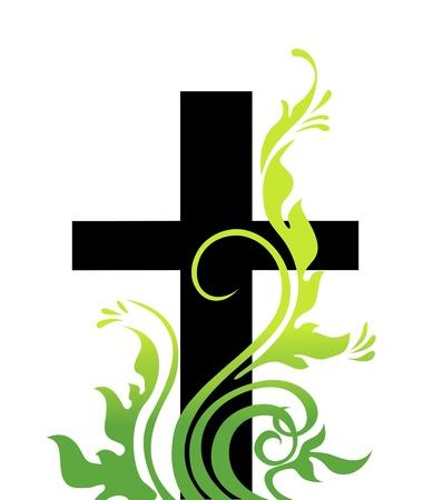 jesus on cross: Pasqua, croce ed erba