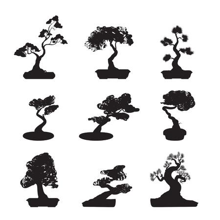 Bonsai Trees Silhouettes Set