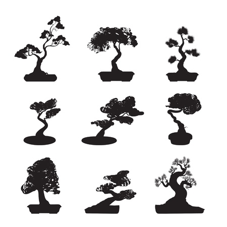 leafs: Bonsai Trees Silhouettes Set