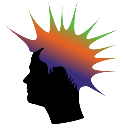 punk hair: Silhouette homme, cheveux couleur