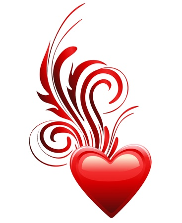Red Heart Floral Decoration