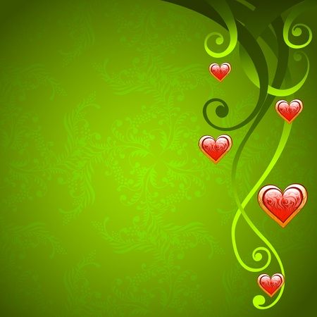 Valentine Day love background with floral decoration and red hearts Vector