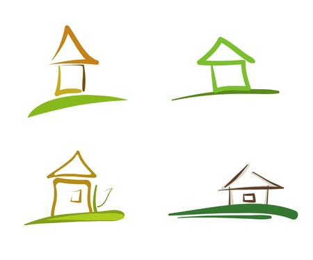 ecology house: House Abstract Icons Illustration