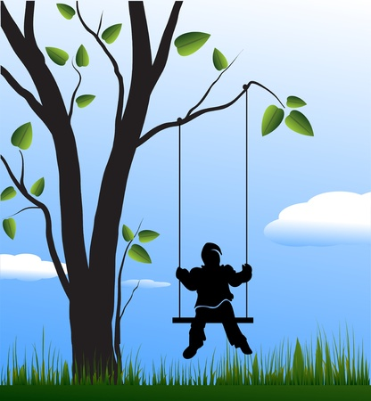 Swing, tree and child Vector