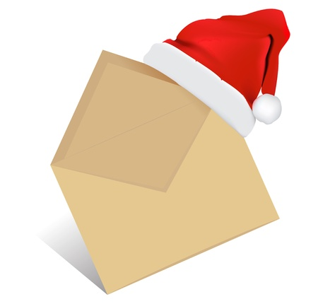 Christmas Post. Open Envelope Vector