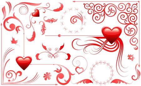 Valentine Love Hearts Set Illustration