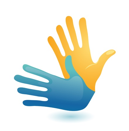 sign language: Deaf hand gesture language symbol. Two vector arms icon design