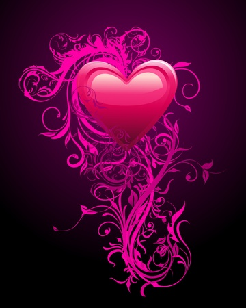 Romantic Heart Decoration Stock Vector - 11995763