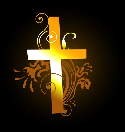 grunge cross: cross gold background