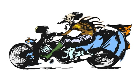 motorcycle rider: Motorcycle Rider Character Cartoon Illustration