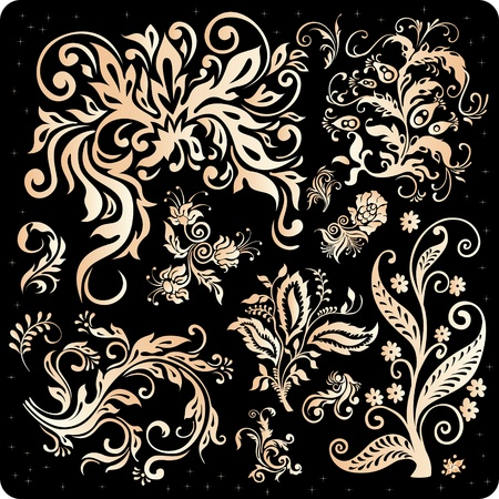 Golden Floral Ornament Set Vector