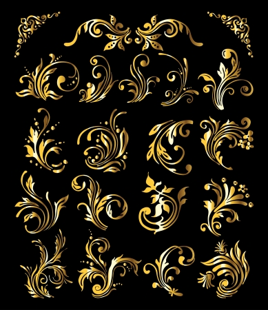 Floral Ornament Set of Vintage Golden Decoration Elements Vector