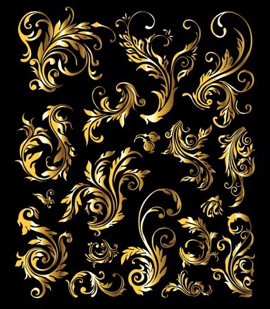 calligraphic design: Floral Ornament Set of Vintage Golden Decoration Elements