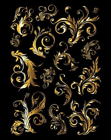 Ornamento Vintage Floral Set di elementi decorativi d'oro