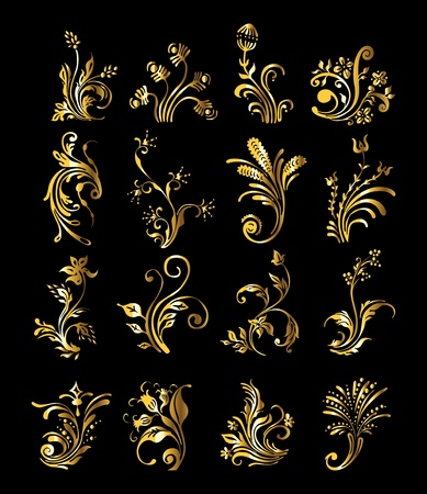 corner ornament: Floral Ornament Set of Vintage Golden Decoration Elements
