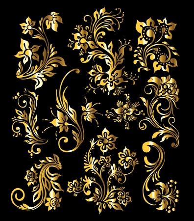 Floral Ornament Set of Vintage Golden Decoration Elements Stock Vector - 12195901
