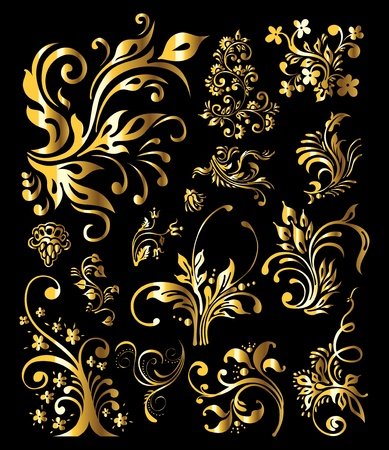 gold corner: Floral Ornament Set of Vintage Golden Decoration Elements
