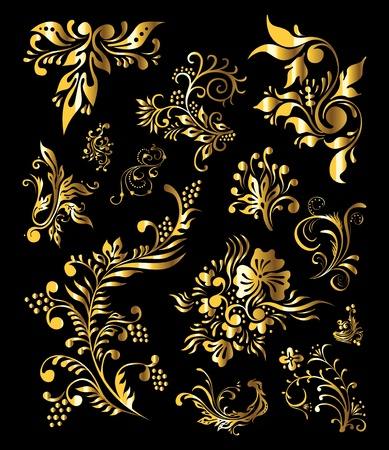 victorian fashion: Floral Ornament Set of Vintage Golden Decoration Elements