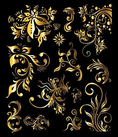 Ornamento Vintage Floral Set di elementi decorativi d'oro Vettoriali