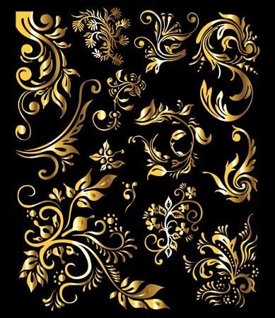 виньетка: Цветочный орнамент Набор старинных Золотые элементы декора