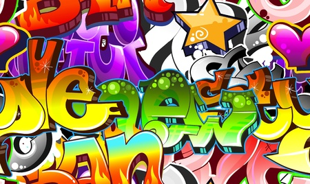 graffiti art: Graffiti Urban Art Background. Seamless design