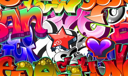 Graffiti Urban Art Background. Seamless design Vector