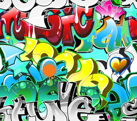 graphiti: Graffiti Urban Art Background. Seamless design