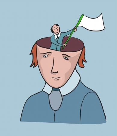Problema social de la libertad humana. Concepto creativo, el hombre con la bandera de rendición Ilustración de vector