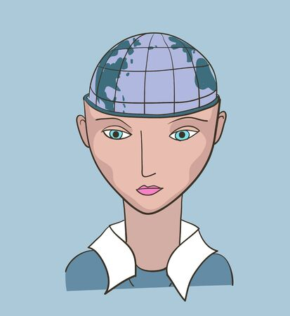 Business woman creative vector illustration. Earth planet inside the head Vector
