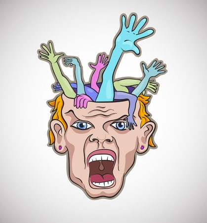 Crazy man face artistic vector illustration Vector