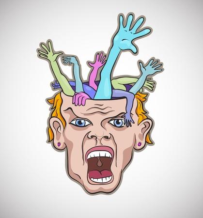 crazy face: Crazy man face artistic vector illustration Illustration