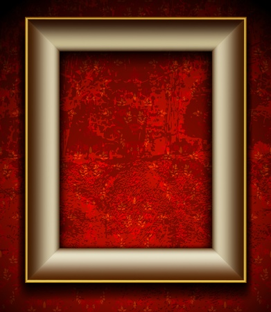 corner frame: Picture frame on grunge wall vector vintage design