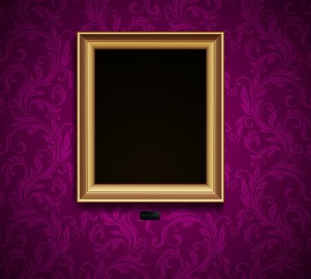 mur grunge: Cadre photo sur grunge mur conception vecteur vieux