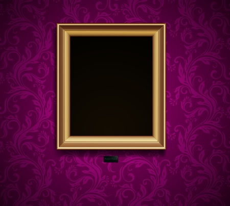 wallpaper wall: Picture frame on grunge wall vector vintage design