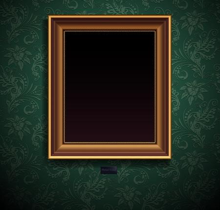 Picture frame on grunge wall vector vintage design Vector