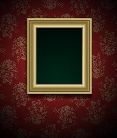 ornate gold frame: Marco de fotos de dise�o de la pared del grunge vector vintage Vectores