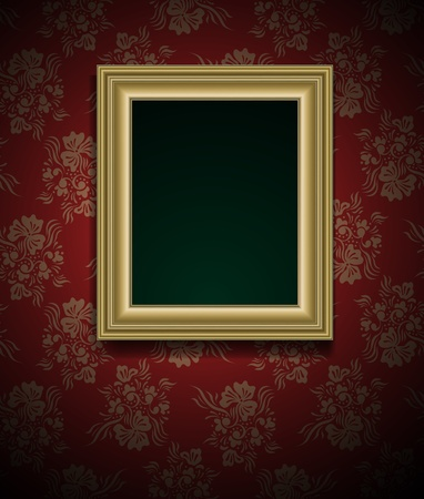 golden frames: Picture frame on grunge wall vector vintage design