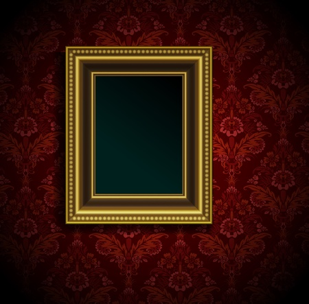 Picture frame on grunge wall vector vintage design Stock Vector - 12486192