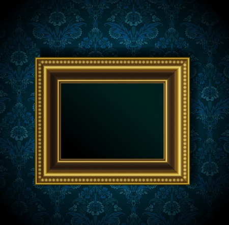 gold frame: Picture frame on grunge wall vector vintage design