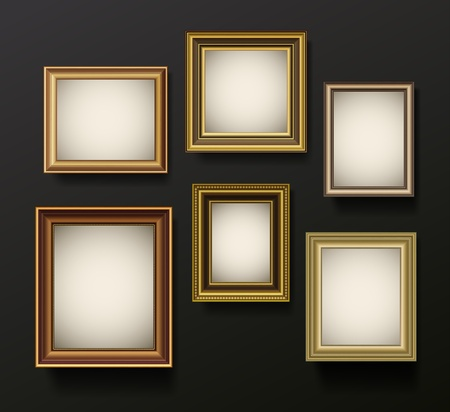 photo corner: Picture frames set on wall