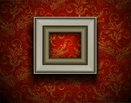 square image: Picture frame on grunge wall vector vintage design