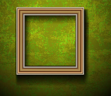 Empty Picture Frame on Grunge Wall Stock Vector - 12486193