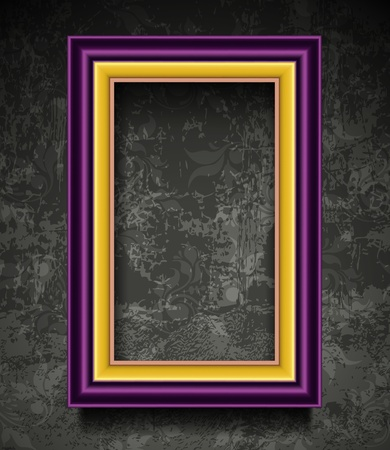 golden frames: Fashion Picture Frame on Grunge Wall
