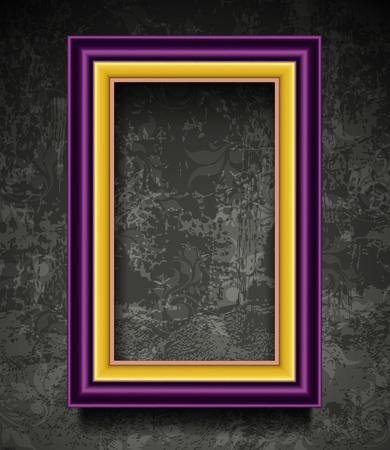 grunge photo frame: Fashion Picture Frame su Grunge parete Vettoriali