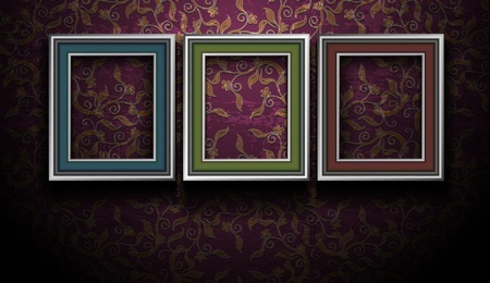 Gallery Picture Frames on Grunge Vintage Wall Vector