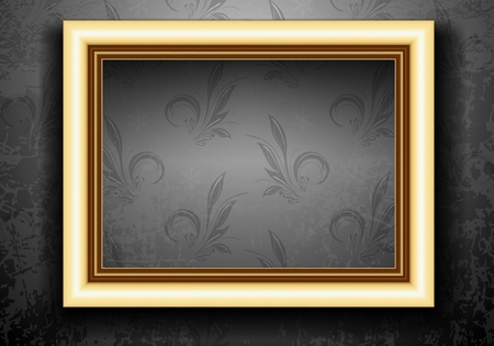Golden Frame on Grunge Wall with Vintage Wallpaper Vector