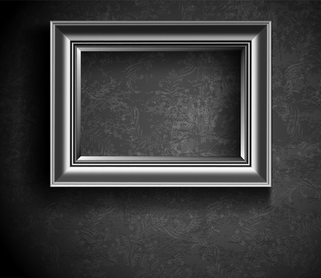 Grunge Picture Frame on Concrete Wall Vector